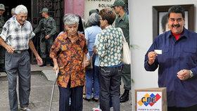 Venezuelský prezident Nicolás Maduro u voleb starostů.