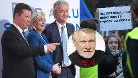 """Okamura v Praze přivítal Le Penovou či Wilderse, europoslanec Štětina to označil za """"sraz hnědokošiláčů""""."""
