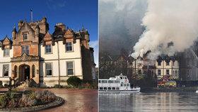 Luxusní hotel Cameron House zachvátil rozsáhlý požár.