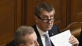 Andrej Babiš během jednání ve Sněmovně o rozpočtu pro rok 2018