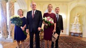 Ivana a Miloš Zemanovi a Monika a Andrej Babišovi v Lánech na novoročním obědě