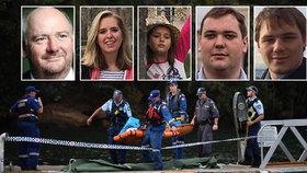 Oběti havárie: Richard Cousins se syny Edwardem a Williamem, Emma Bowdenová s dcerou Heather.