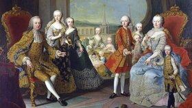 František Štěpán Lotrinský a Marie Terezie (na trůnech) se svými dětmi
