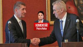 Premiér Andrej Babiš (vlevo) a prezident Miloš Zeman v komentáři Petra Holce