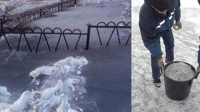 Černý sníh v Kazachstánu