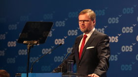 Předseda ODS Petr Fiala pronesl řeč na sněmu strany.