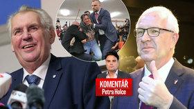 Prezident Miloš Zeman, nahatý útok a jeho sok Jiří Drahoš