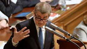 Premiér Andrej Babiš (ANO) na schůzi Sněmovny o důvěře jeho vládě
