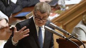 Andrej Babiš (ANO) během schůze Sněmovny Sněmovny, která řešila důvěru menšinové vládě