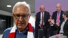 Prezidentský kandidát Jiří Drahoš (vlevo) a jeho tři podporovatelé: Michal Horáček, Pavel Fischer a Marek Hilšer