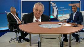 Prezident Miloš Zeman na TV Nova v rozhovoru s Reyem Korantengem