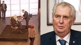 Na Facebooku se objevila fotografie, jak si Miloš Zeman zapálil na Barrandově přímo ve studiu.