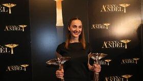 Herečka a zpěvačka Bára Poláková na Andělech v roce 2015