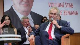 Tisková konference Miloše Zemana poté, co obhájil své vítězství v prezidentské volbě.