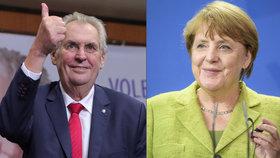 Německá kancléřka Angela Merkelová pogratulovala Miloši Zemanovi k vítězství. Po 4 dnech.