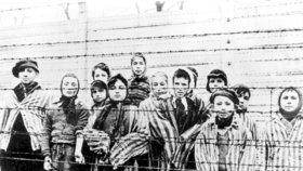 Fotografie ukazující židovské děti v koncentračním táboře po osvobození sovětskou armádou