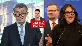 Andrej Babiš (ANO, vlevo) a představitelé ODS Petr Fiala a Alexandra Udženija v komentáři Petra Holce