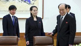 Sestra severokorejského vůdce Kim Jo-čong a Kim Jong-nam na jednání s jihokorejským prezidentem.
