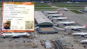 Průkazka muže, který dostal práci v citlivých oblastech letiště Heathrow, ač byl sledován protiteroristickou službou.