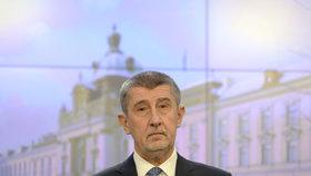 Premiér v demisi Andrej Babiš na tiskové konferenci po jednání vlády, která zasedala 14. února 2018 v Praze.