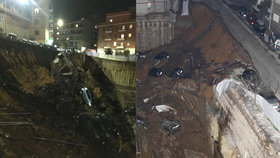 V Římě se propadla zem, v devítimetrové díře zmizely domy i auta.