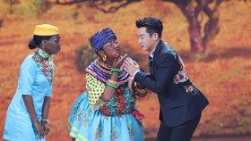 Záběr ze show k uvítání čínského lunárního roku Psa