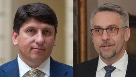 Babišův ministr vnitra Lubomír Metnar (vpravo) odvolal šéfa České pošty Martina Elkána.