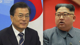 Jihokorejský prezident Mun Če-in a hlava KLDR Kim Čong-un