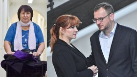Soudkyně Helena Králová a manželé Jana a Petr Nečasovi u soudu