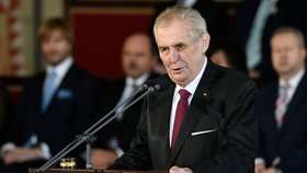 Zeman během inauguračního projevu (8. 3. 2018)