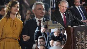 Prezident Miloš Zeman, jeho kancléř Vratislav Mynář s Kateřinou Zemanovou a zástupci TOP 09 opouštějící sál