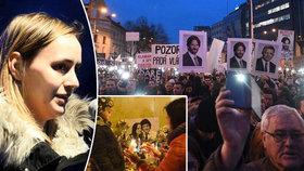 Demonstrace proti vládě a za nezávislé vyšetření vraždy slovenského novináře Kuciaka a jeho partnerky Martiny v Bratislavě. Na snímku vlevo Kuciakova sestra Mária (9. března 2018)