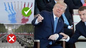 Prezidenti USA Donald Trump a Francie Emmanuel Macron na oslavě Dne Bastily. Letadla v USA projdou, tanky ne