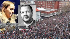Před zaplněným bratislavským náměstím promluvila sestra zavražděného novináře Jána Kuciaka. Její vystoupení popsal na Facebooku dojemně šéfredaktor Denníku N Matúš Kostolný.