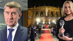 Premiér v demisi Andrej Babiš se diví politickým projevům při předávání Českých lvů. Dokumentaristce Olze Sommerové prý v minulosti dal peníze na dva dokumenty.