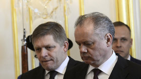 Andrej Kiska na schůzce s Robertem Ficem