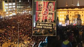 """Protest """"Zemane - ČT nedáme"""" prošel Prahou z Václavského náměstí až před Pražský hrad (14.3.2018)"""