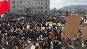 Studenti vysokých a středních škol protestují po celém Česku za ústavní hodnoty