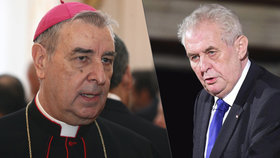 Prezident Miloš Zeman udělí ve středu státní vyznamenání apoštolskému nunciovi Giuseppemu Leanzovi, který v Česku zastupuje Vatikán.