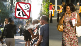 V New Yorku se snaží schválit zákaz kouření za chůze.