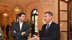 Premiér v demisi Andrej Babiš na večeři s Paulem Ryanem, šéfem Sněmovny reprezentantů USA (26. 3. 2018)