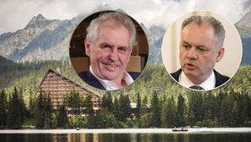 Prezidenti Miloš Zeman a Andrej Kiska se setkali ve Vysokých Tatrách na Štrbském Plese