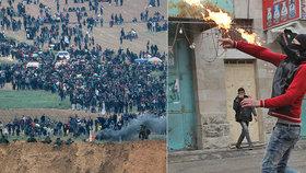Drsný střet u Pásma Gazy: Zápalné láhve, osm mrtvých a přes 1000 zraněných