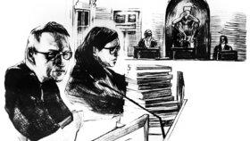 Skica ze soudního přelíčení s Peterem Madsenem