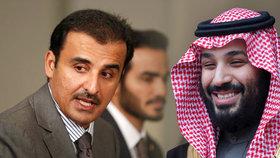 Budou o saúdském návrhu na vytvoření průplavu na hranicích s Katarem jednat hlavní představitelé těchto států, katarský emír Tamim bin Sání (vlevo) a saúdský korunní princ Mohamed bin Salmán? Vztahy mezi státy jsou téměř na bodě mrazu.