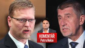 Šéf ANO Andrej Babiš (vpravo) a předseda KDU-ČSL Pavel Bělobrádek v komentáři Petra Holce