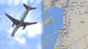 V důsledku varování Eurocontrolu se syrský vzdušný prostor během dopoledne prakticky vyprázdnil. (https://www.flightradar24.com11.4.20218, stav k 13:00)