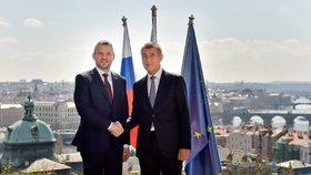 Slovenský premiér Peter Pellegrini na návštěvě Česka. Babiš ho uvítal v Kramářově vile. 11. 4. 2018.