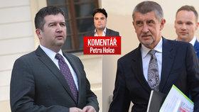 Lídři ČSSD Jan Hamáček a ANO Andrej Babiš v komentáři Petra Holce
