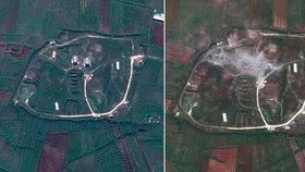 Fotografie ukazují cíle raketového útoku v Sýrii před a po zásahu.